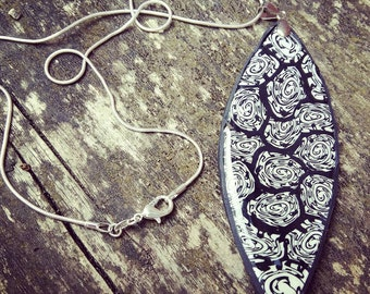 Monochrome Swirl Pendant. Polymer Clay Necklace. Black and White Necklace. Hand Made. Original Unusual Statement Necklace. Gift For Her.