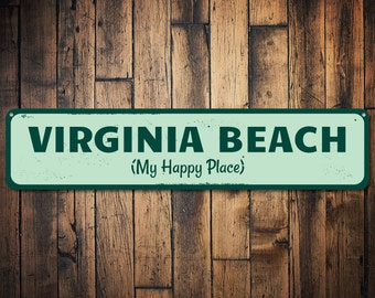 My Happy Place Sign, Personalized Beach Location Sign, Custom Beach House Sign, Metal Beach House Decor - Quality Aluminum ENS1001226