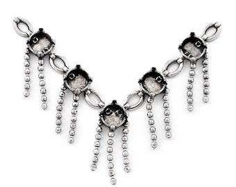 Base pour collier, à franges, argent antique 7,5 cm, 5 sertis 8mm,