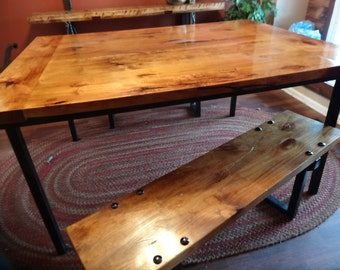 Handcrafted farmhouse table and 2 matching benches