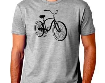 Bicycle Men T-Shirt. Hand Screen Printed Tee. Great Quality. Grey. Very Soft. Bike Ride Sports Biking