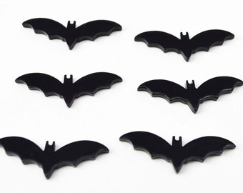 Black Bats With Wings Resin Plastic Kawaii Decoden Kitsch Flatbacks Cabochons 060116