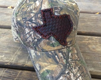 Woodlands Camo Baseball Hat w/ Handcrafted Leather Texas Emblem