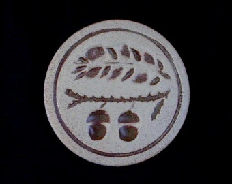 "Pigeon Forge Tile 5"" ACORNS Round Trivet Large Coaster with Impressed Design ~ Douglas (D.) Ferguson, Pottery Founder (B26) 6858"