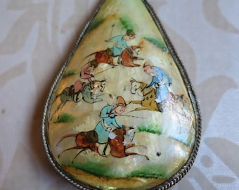 Vintage oriental hand painted mother of pearl pendant hunting scene birds flower silver tone both sides decorated (5631)