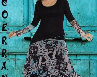 "Set Top and asymmetrical skirt, Top long sleeves, asymmetrical skirt ""Urban Blue..."""