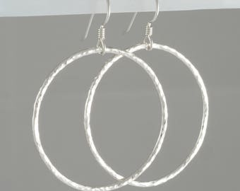 Hand Forged Sterling Silver Circle Hoop Earrings Large