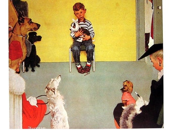 Waiting for the Vet, The Tattoist - Norman Rockwell Art - Saturday Evening Post Cover - 2 Sided 1989 Vintage Book Page - 10 x 12