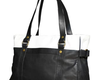 Every day tote. Black and white leather.