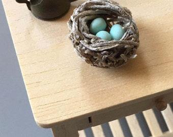Miniature Bird's Nest, Robin's Nest, Dollhouse Accessory, 1:12 Scale