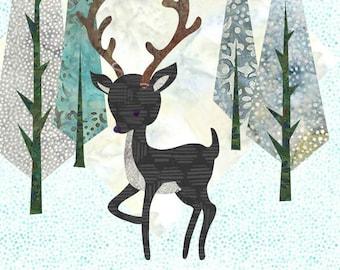 Deerly Beloved - Fusible Applique Art Quilt Pattern - INSTANT DOWNLOAD PDF