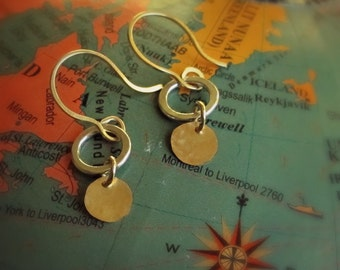 extra small silver open circle and hammered gold disc earring
