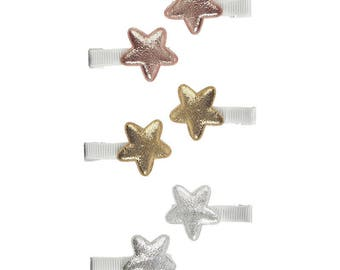 Mini Star Hair Clips - Rose Gold Hair Accessories - Sparkly Hair Slides - Glitter Star Clips Pack of 6