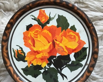 Orange Rose Biscuit Tin