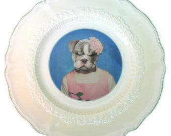 SALE - Damaged - Becky Bulldog Portrait Plate 10""