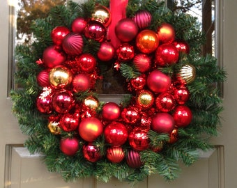 Holiday Ornament & Evergreen Wreath