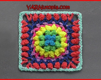 DIGITAL DOWNLOAD: PDF Crochet Written Pattern for the Firework Pop Granny Square