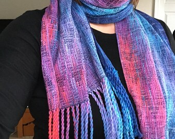 Cotton/Muga Silk Scarf from the Makers Gonna Make warp (blue speckled weft)