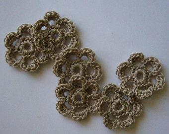 Mini Six Crocheted Flowers - Linen - Cotton Flowers - Crocheted Flower Embellishments - Crocheted Flower Appliques - Set of 6