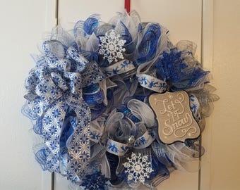 Let it Snow dark blue wreath Mesh wreath blue and silver