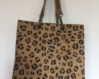 Tote bag 100% leopard print leather