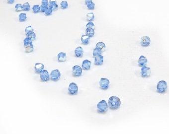 4mm Bicones, 24 Light Sapphire Blue AB 4mm Bicones, Swarovski Crystal Bicones, Beading Supplies, Item 200B