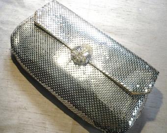 Vintage Whiting & Davis Silver Mesh Rhinestone Handbag