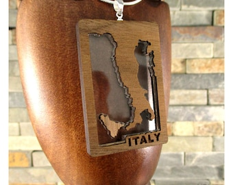 Italy, Sterling Silver and Walnut Necklace, 5th year anniversary, Wood Anniversary