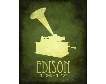 16x20 Steampunk Science Art Print Thomas Edison Rock Star Scientist Phonograph Illustration Diagram Educational Posters Geek Decor