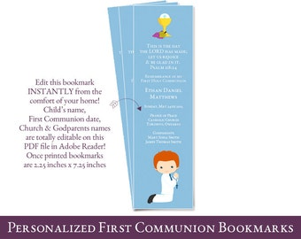 first communion bookmark favors for boys - Personalized 1st Communion Bookmark - PDF file You edit at home with ADOBE READER