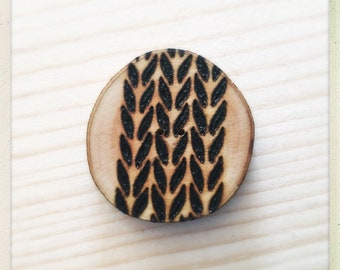 Ready to go wood burned knitting stockinette stitch button