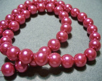 Glass Pearls Rose Pink 8MM