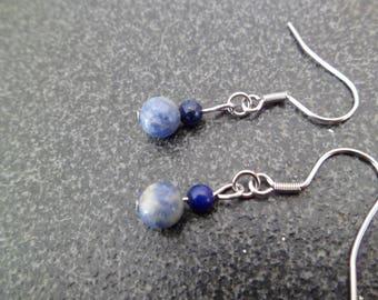 """Silver earrings """"blue stones."""
