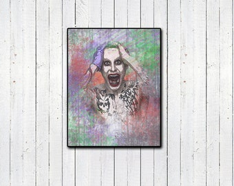 SUICIDE SQUAD, Jared Leto Joker Watercolor Print 11x14in, The Dark Knight, Batman, Supervillians, Why So Serious?, Harlequinn, Movies & Tv