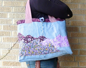Upcycled Tote Bag Purple Mountains Majesty - Wildflowers