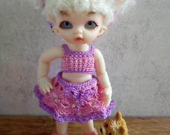 Pukipuki Lati White SP Soom Imda 11-12 cm BJD Set: skirt and top for dolls of similar format