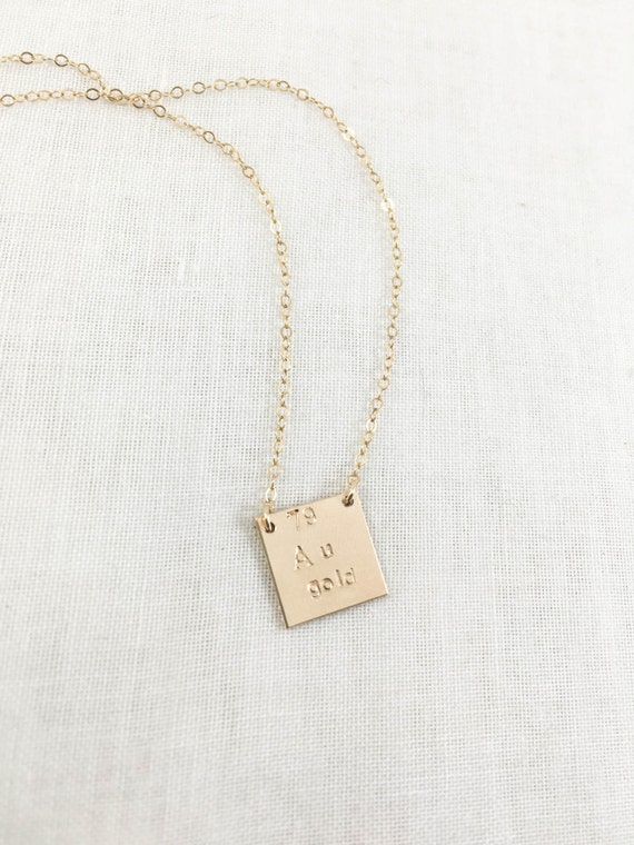 Gold element au periodic table necklace 14k gold filled like this item urtaz Images