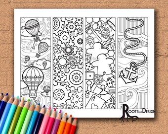 INSTANT DOWNLOAD Coloring Page - Color your own fun bookmarks, doodle art, printable, Coloring bookmarks