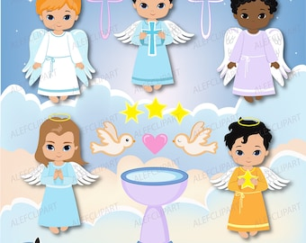 Angels Boys, Little angels Boys digital Clipart / Cute Angels Clip Art / Angels Graphics For Personal and Commercial use