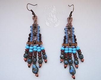 Macrame earrings Boho tassel earrings Multicolor Elegant Boho Jewelry Girlfriend gift Boho earrings dangle Gypsy earrings Tribal earrings