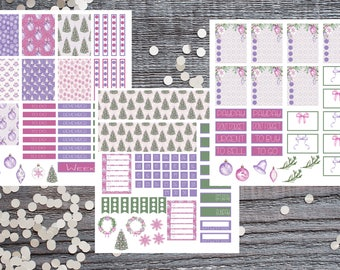 Purple Chirstmas Theme Planner Stickers-Purple Winter Planner Stickers-Stickers Compatible with Most Planners