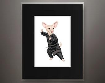 Chiweenie Matted 5x7 Art Print - Fits 8x10 Frame