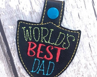 World's Best Dad Key Fob Personalised Key Fob Faux Leather Handmade Father's Day Birthday Gift Father Dad Grandad