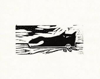 "Original Woodcut Cat Art Handmade Limited Edition Print ""02.19-Chill"""