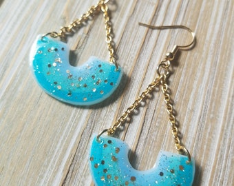 Blue Ombre Rainbow Earrings