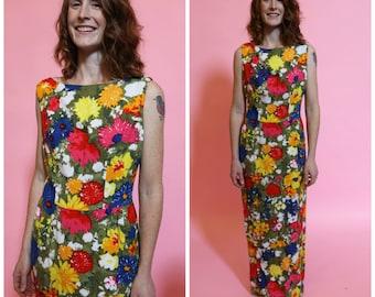 1950s Floor Length Floral Cotton Dress
