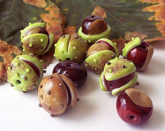 Chestnut. Handmade Lampwork Bead Set (10  pcs) Lime Green, Brown, Beige, Raku. Lampwork Chestnut. Made to order.
