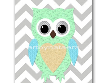 Owl Decor Owl Nursery Kids wall art Baby Nursery Decor Baby Boy Nursery Kids Art Baby Room Decor Nursery Print Boy Art gray blue