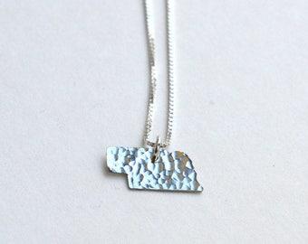 Tiny Nebraska Necklace. Small Nebraska State Necklace. Gold Nebraska Cornhuskers State Outline Pendant. University of Nebraska Gift For Her.