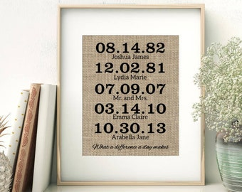 What a Difference a Day Makes Burlap Print | Personalized Family Important Dates | Birth Dates Wedding Date Childrens Birth Dates Sign